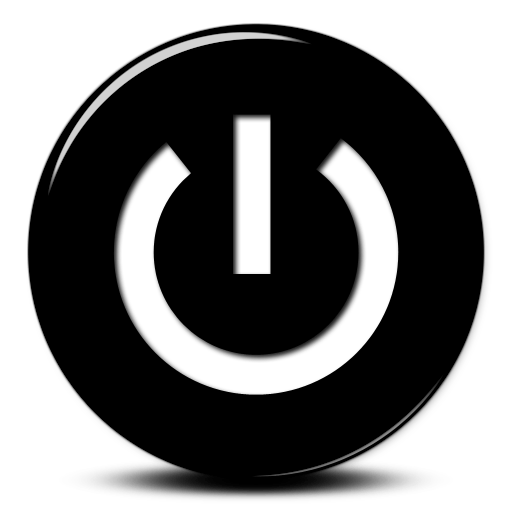 Black White Power Button Icon