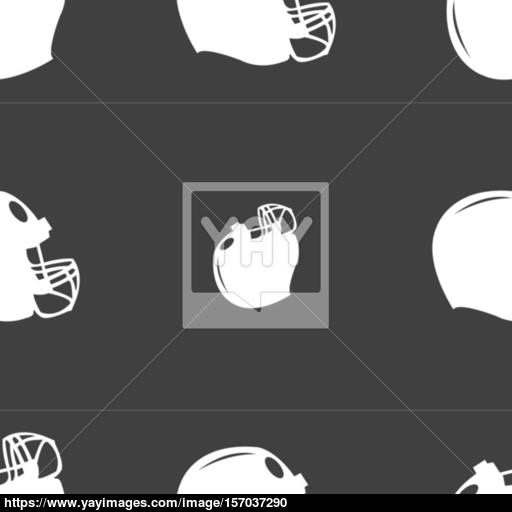 Football Helmet Icon Sign Seamless Pattern On A Gray Background