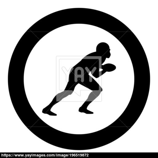 American Football Player Icon Black Color In Circle Vector