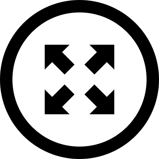 Expand Four Oblique Arrows Symbol In Circular Button Icons Free