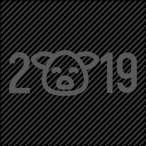 Card, Happy, New, Pig, Xmas, Year, Zodiac Icon