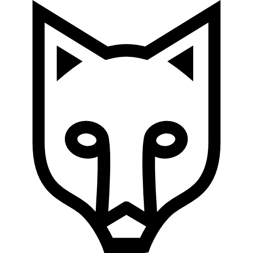 Fox Face Outlined Frontal View