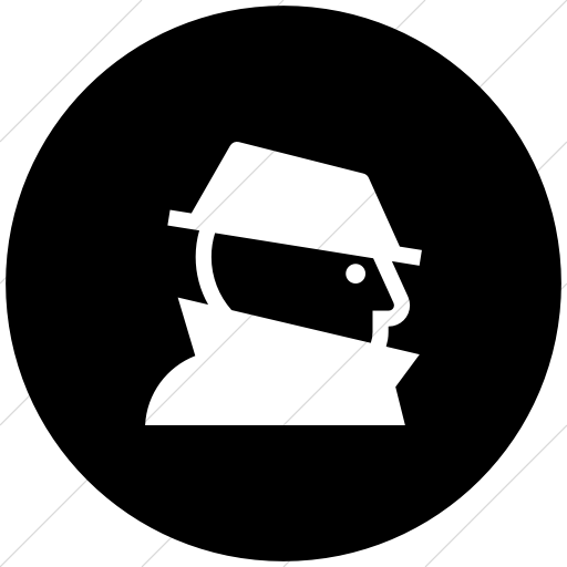 Flat Circle White On Black Iconathon Fraud Icon
