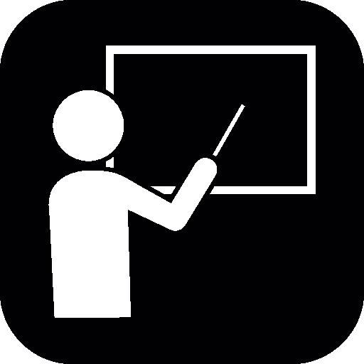 Professor Teaching On A Blackboard In White Shapes Inside A Black