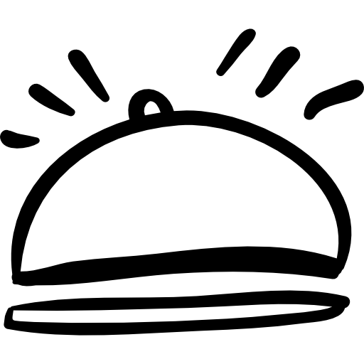 Hotel Food Plate With Rounded Cover Hand Drawn Outline