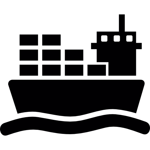 Ship With Cargo On Sea Icons Free Download