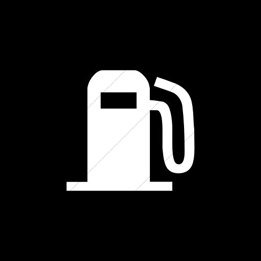 Flat Square White On Black Classica Fuel Pump Icon