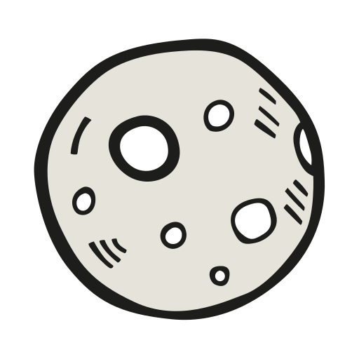 Moon, Full, Moon Icon Free Of Space Hand Drawn Color