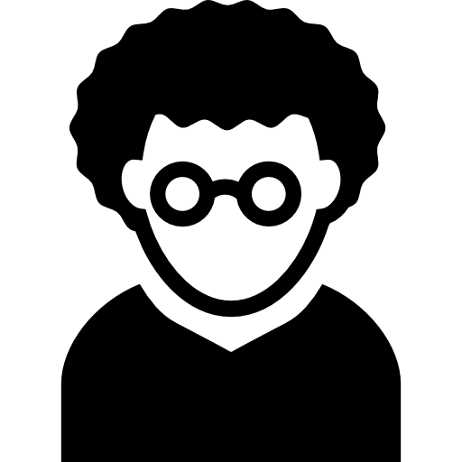 Nerd Man With Curly Hair And Circular Eyeglasses Avatar Icons