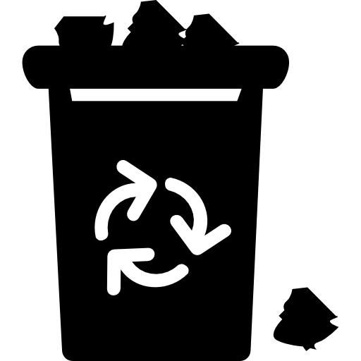 Garbage With Recycle Sign Overflowing With Trash Icons Free Download