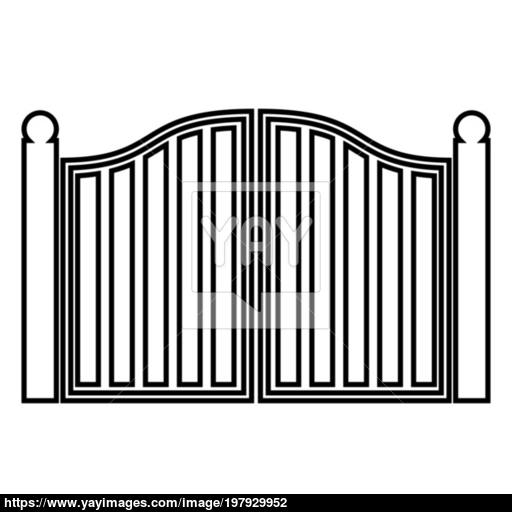 Old Gate Icon Black Color Illustration Flat Style Simple Image