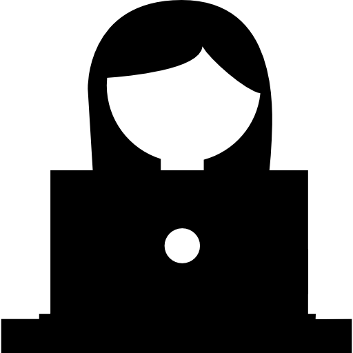 Girl Studying On A Laptop Icons Free Download