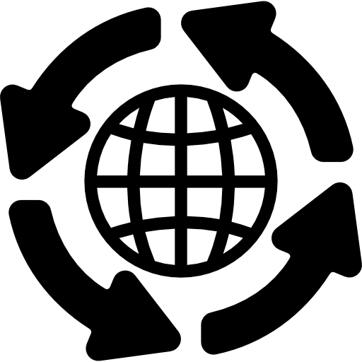 Global Distribution Grid Symbol With Arrows Circle Icons Free