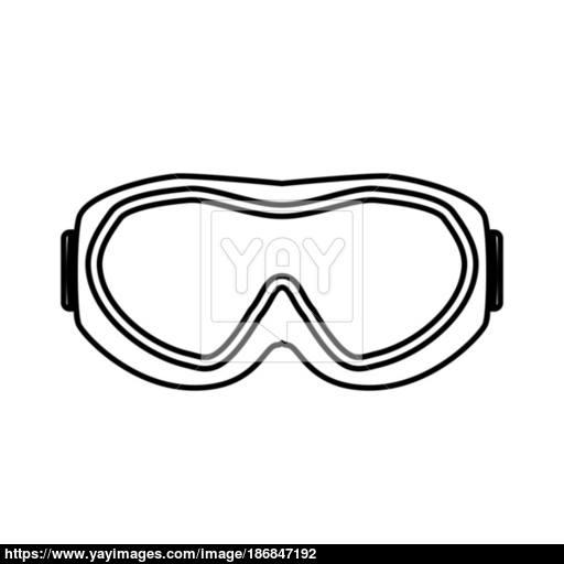 Ski Goggles Black Color Icon Vector