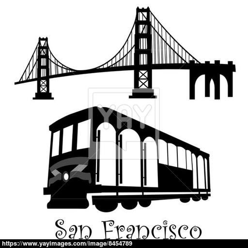 San Francisco Golden Gate Bridge And Cable Car Trolley Image