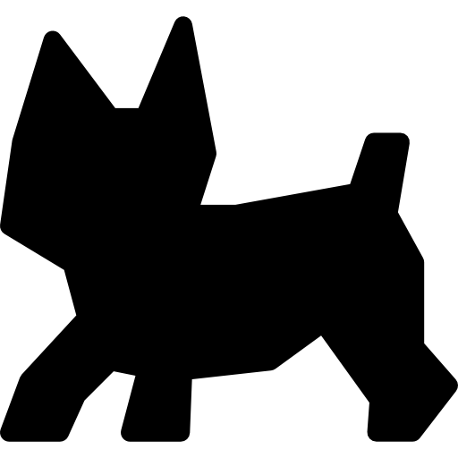 Puppy, Black Small Pet Dog Shape Icons Free Download