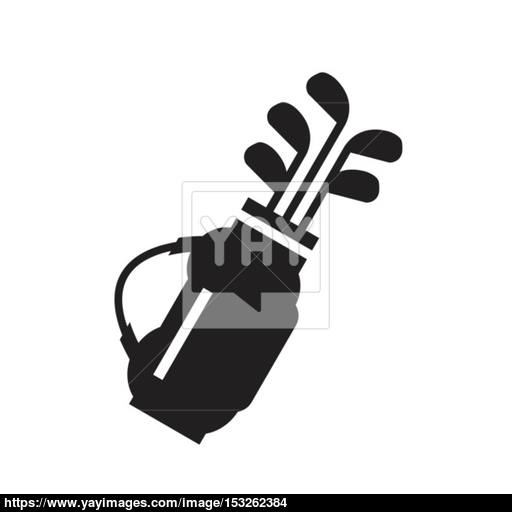 Golf Bag With Clubs Symbol Icon Vector