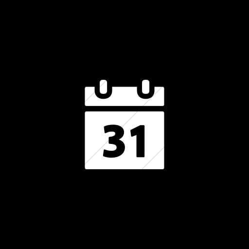 Flat Circle White On Black Foundation Calendar Icon