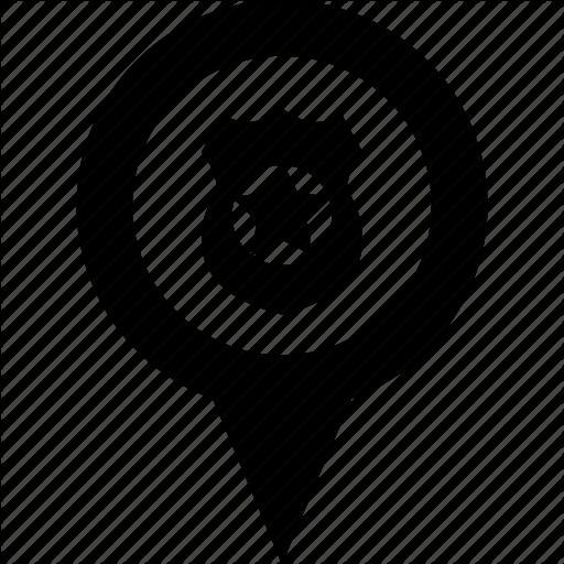 Adress, Circle, Destination, Map, Pin, Police, Shield Icon