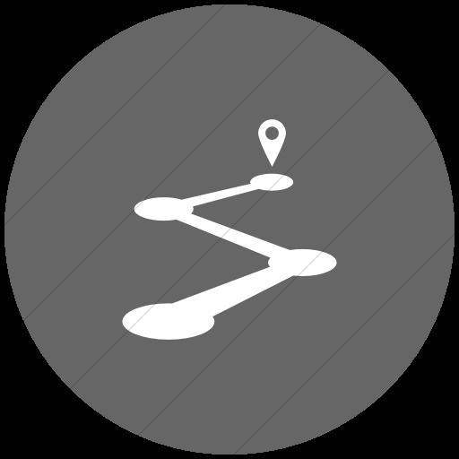 Flat Circle White On Gray Raphael Road Map Icon