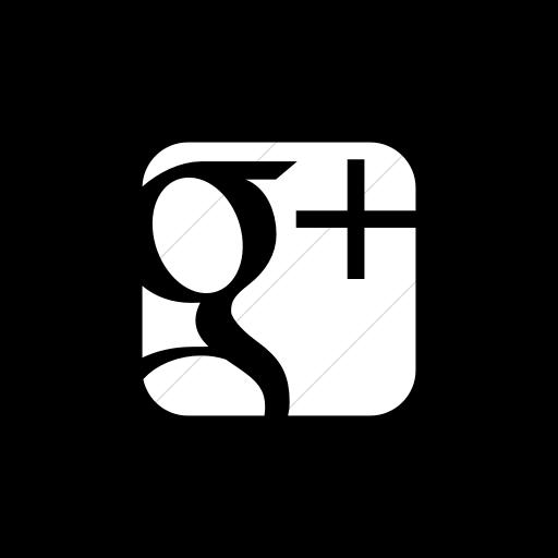 Flat Square White On Black Social Media Googleplus