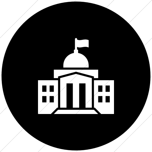 Flat Circle White On Black Iconathon Federal Government