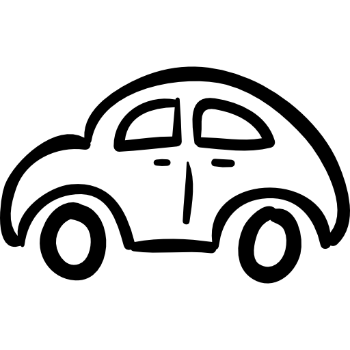 Car Hand Drawn Rounded Outlined Vehicle From Side View Icons