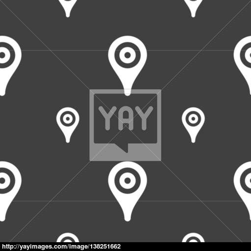 Map Pointer, Gps Location Icon Sign Seamless Pattern On A Gray