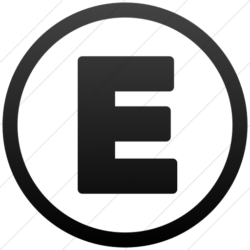 Simple Black Gradient Encircled Capital E Icon