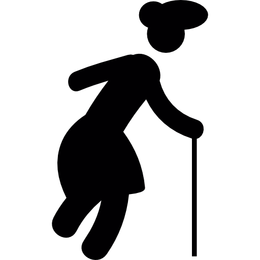 Grandmother Walking Silhouette Icons Free Download