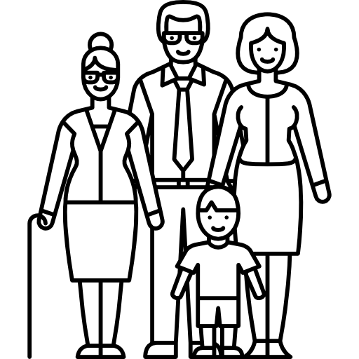 Married Couple With Grandmother And Child Icons Free Download