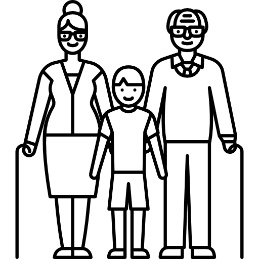 Grandparents With Child Icons Free Download