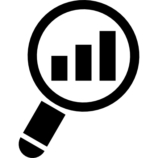 Magnifying Glass On A Rising Bar Graph Icons Free Download