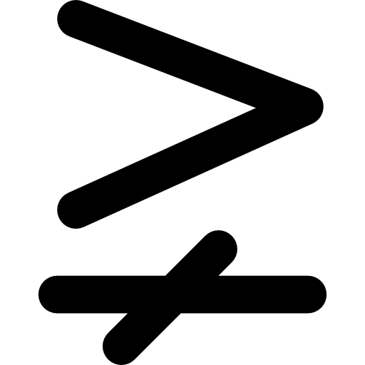 Symbol, Sign, Greater Than And Single Line Not Equal To, Signs
