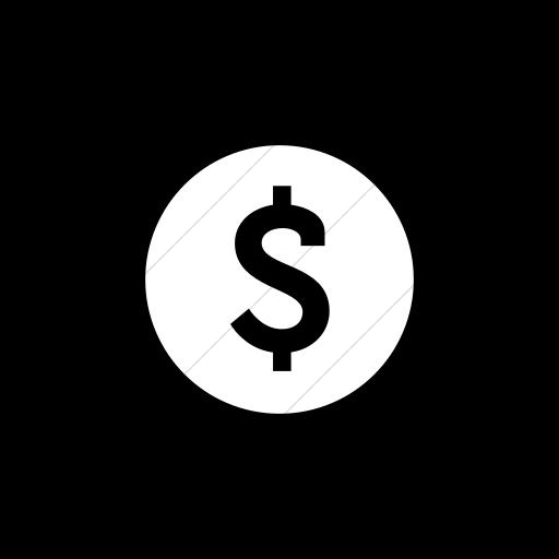 Flat Circle White On Black Raphael Dollar Sign Icon