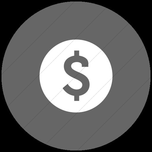 Flat Circle White On Gray Raphael Dollar Sign Icon