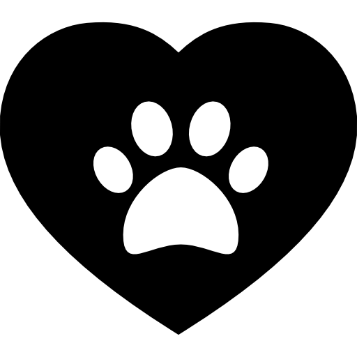 Dog Pawprint On A Heart Icons Free Download