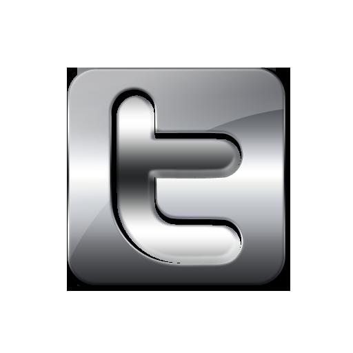 Glossy Silver Icon Social Media Logos Twitter Logo Square