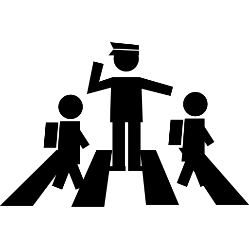 Students Crossing Street With A Traffic Guard Icons Free Download