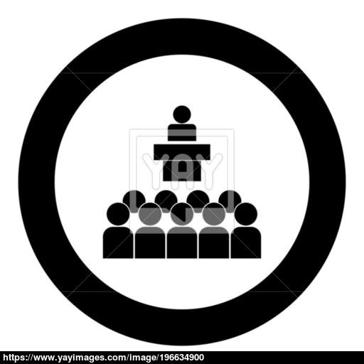 Speaker Before The Audience Black Icon In Circle Vector