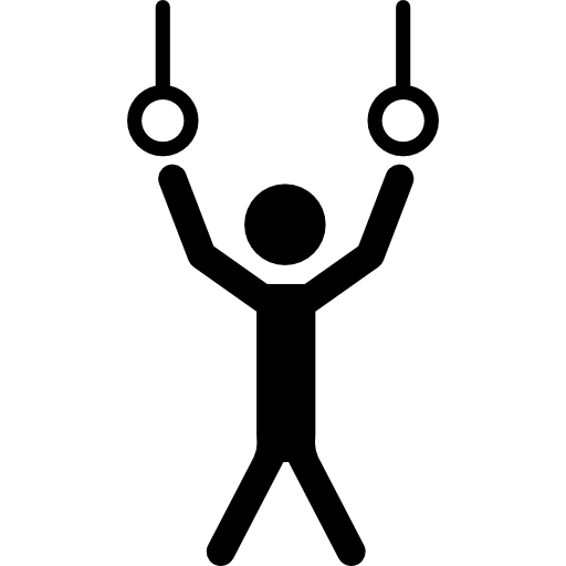 Athlete Hanging Of Rings Couple To Practice Gymnastics Icons