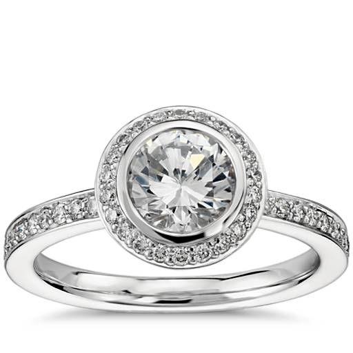 Bezel Set Halo Diamond Engagement Ring In Platinum