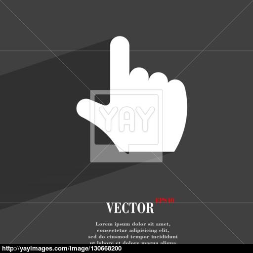 Pointing Hand Icon Symbol Flat Modern Web Design With Long Shadow