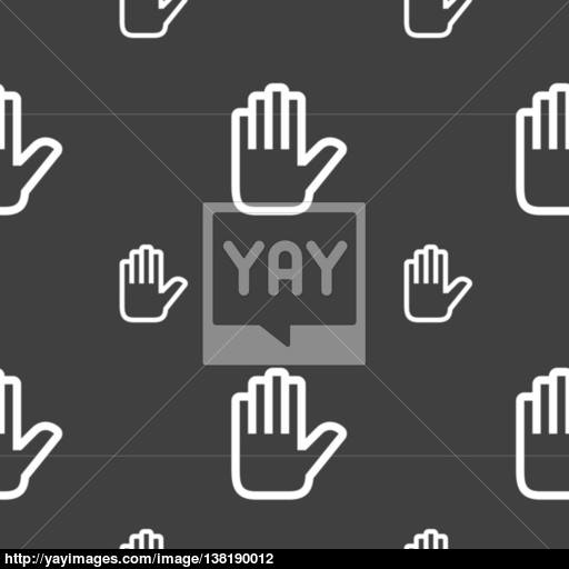 Hand Print, Stop Icon Sign Seamless Pattern On A Gray Background