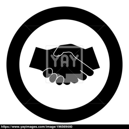 Business Handshake Icon Black Color In Circle Vector