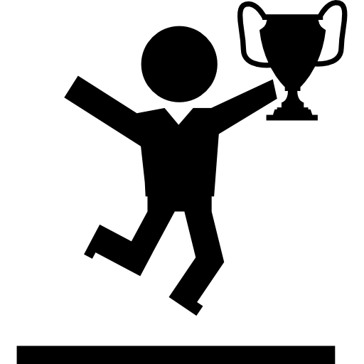 Winner Student With Competition Trophy Jumping Of Happiness Icons