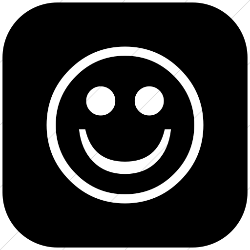 Flat Rounded Square White On Black Classica Smiley Face