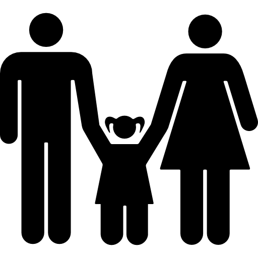 Family Of Mother And Father With A Daughter Icons Free Download