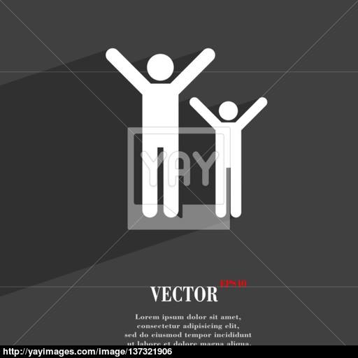 Happy Family Icon Symbol Flat Modern Web Design With Long Shadow