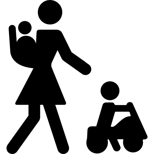 Mother With Baby On Her Back And Other Child On A Car Icons Free